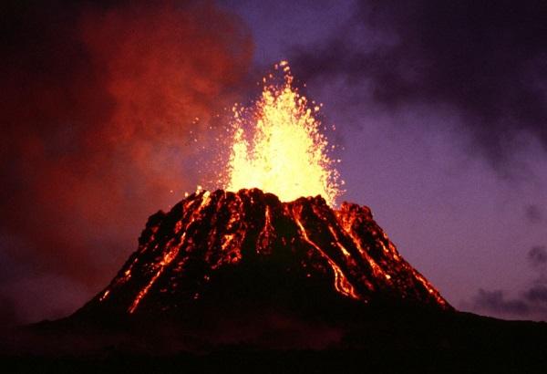The Kilauea volcano erupting