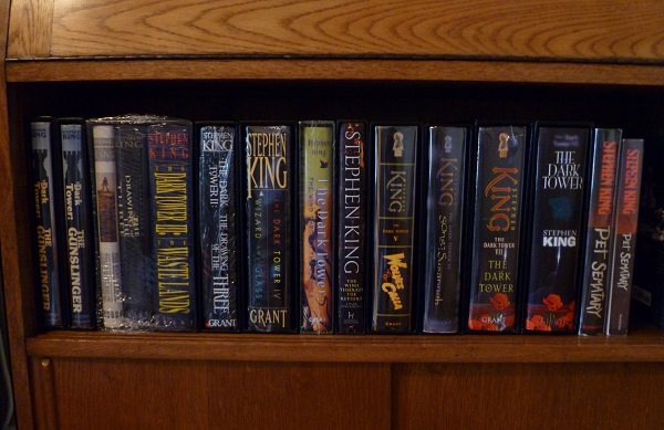 Collection of Stephen King books in a library