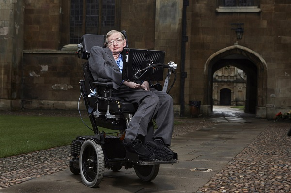 Stephen Hawking at Cambridge University's campus