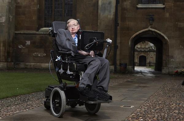Stephen Hawking at Cambridge University's campus