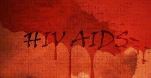 HIV and AIDS written on a blood-red background