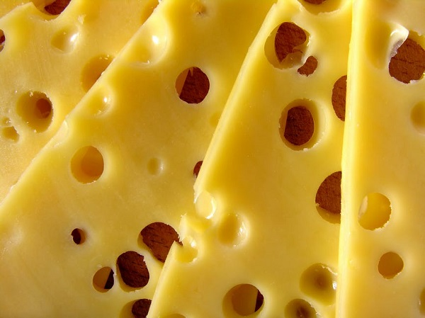 Slices of Swiss cheese
