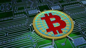 3D digital Bitcoin logo