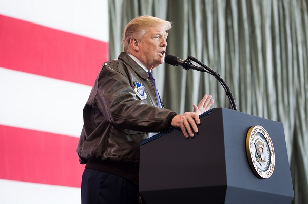 U.S. President Donald Trump speaking to U.S. troops