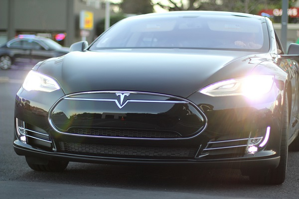 Black Tesla car