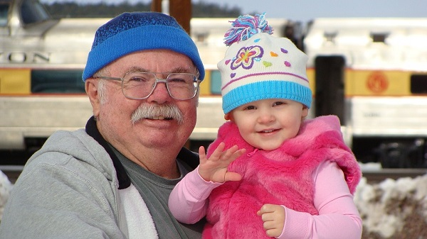 Happy Grandpa and Granddaughter