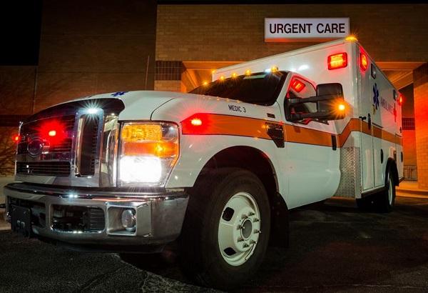 Ambulance with lights on