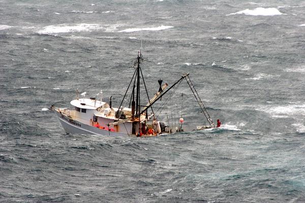 Fishing boat in the Atlantic Ocean
