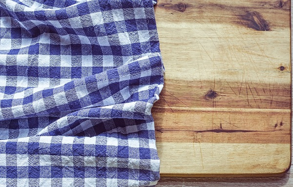 Kitchen towel on cutting board